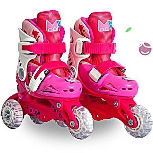 Роликовые коньки детские 27 размер, для обучения (трансформеры, раздвижной ботинок) MagicWheels розовые